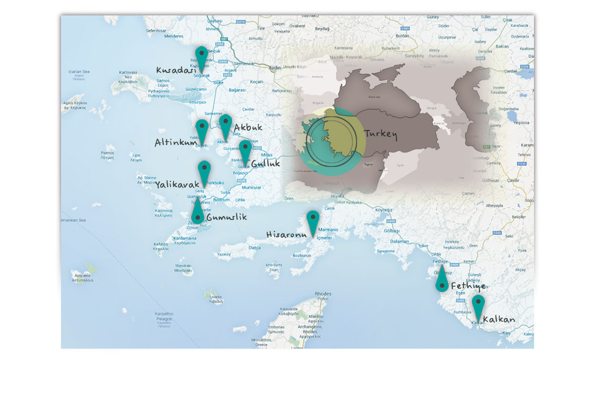 Contact Page | Locations of Property for Sale on the West side of Turkey